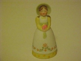 Vintage Porcelain Bell 1985 Avon Woman Girl in Bonnet & White Flowered Gown  - $12.38