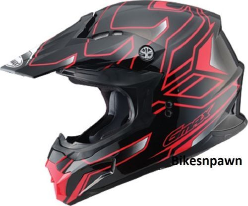 New Black/Red M Adult GMax MX86 Offroad Helmet DOT & ECE 22.05 Approved