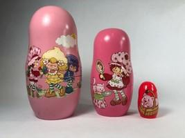 Pink Strawberry Shortcake 2003 TCFC Wooden Nesting Dolls Set of 3 Dolls - $12.86