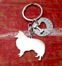New Collie Custom Keychain.  Personalized Dog Breed Keyring, jewelry.  Collie Ke - $18.00
