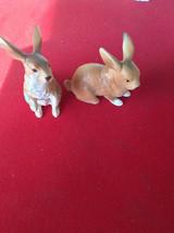 TWO vintage Lefton brown rabbit figurines - $45.00