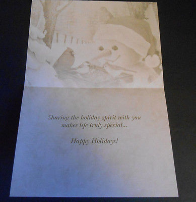 Snowman Tree-Free Greetings Christmas Cards w/Printed Envelopes Birds Lot of 12