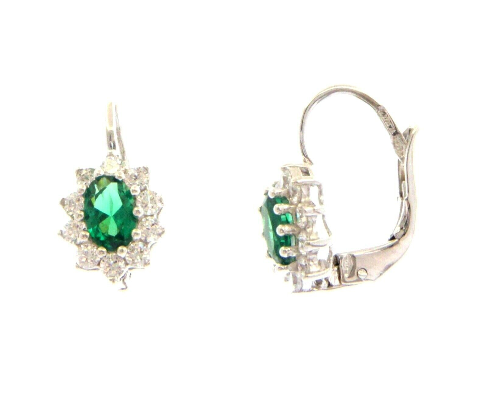 18K WHITE GOLD FLOWER LEVERBACK EARRINGS OVAL GREEN CRYSTAL CUBIC ZIRCONIA FRAME