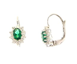 18K WHITE GOLD FLOWER LEVERBACK EARRINGS OVAL GREEN CRYSTAL CUBIC ZIRCONIA FRAME image 1