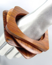CHIC 4 PC Natural Carved OVAL & SQUARE Brown Wood Bangle Bracelet  - $363,14 MXN