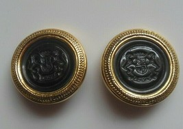Vintage JOAN RIVERS Gold-tone Lion Crest Clip-on Earrings - $65.00