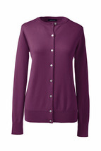 Lands End  Women's LS Supima Crew Cardigan Sweater Bright Eggplant New - $29.99