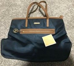 MICHAEL KORS KEMPTON NORTH SOUTH NAVY BLUE NYLON TOTE BAG NICE MK TOTE BAG - $60.76