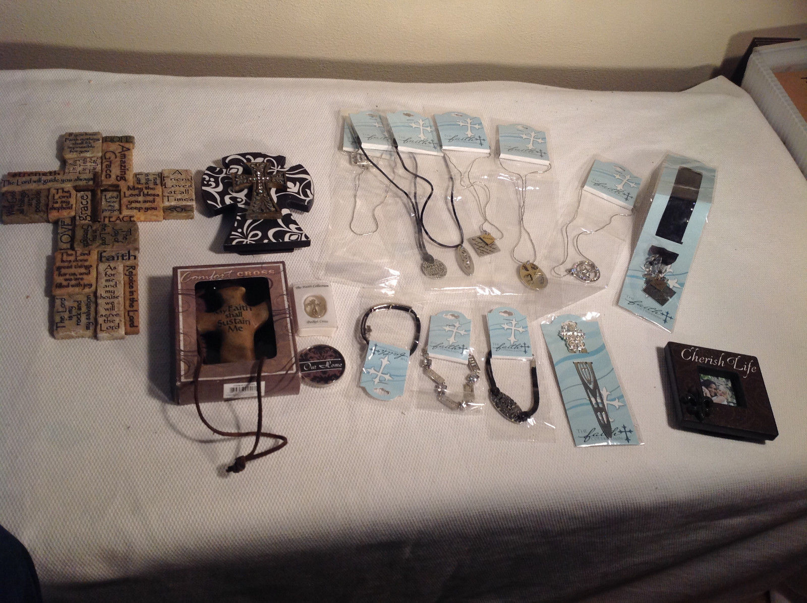 16pc Religious Jewellery and Home Decor Lot Cross Necklace Photo Frame