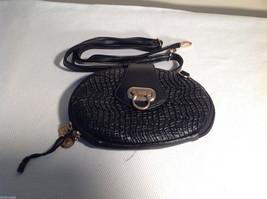 Mad Style Black Handbag Purse Shoulder Strap Gold tone Closure Faux Leather