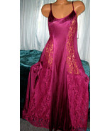 Mansion Plum Nylon Long Nightgown Lace Panels 1X 2X Purple Gown - $23.75