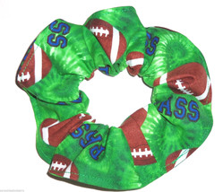 Hair Scrunchie Footballs Green Fabric Scrunchies by Sherry Ties Ponytail... - $6.99
