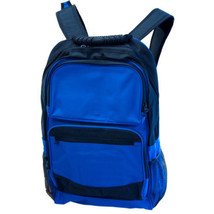 Large Royal Blue & Black Backpack With Pockets: school hiking biking unisex camp - $14.84