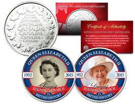 QUEEN ELIZABETH *Longest Reigning* Set of 2 Royal Canadian Mint Medallio... - £9.59 GBP