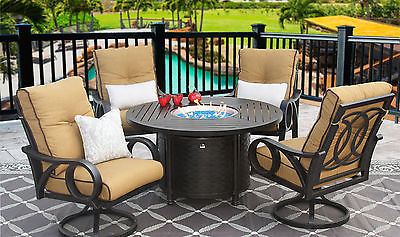 OUTDOOR PATIO 5PC SET 50 Inch ROUND FIRETABLE Series 4000 WITH ECHO TEAK CUSHION