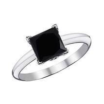 1.5 Carat Black Princess Square Diamond Solitaire Engagement Ring 14K White Gold - £289.43 GBP