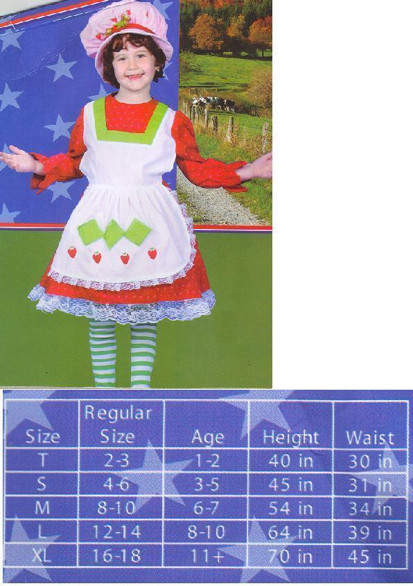 STRAWBERRY THEME COSTUME with HAT SZ GIRL'S LG 12/14
