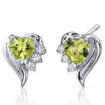 1ct Heart Green Peridot Sterling Silver Stud Earrings - $23.31