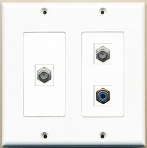 RiteAV  1 Port RCA Blue 2 Port Coax Cable TV- F-Type - 2 Gang Wall Plate - $21.49