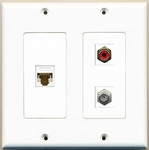 RiteAV  1 Port RCA Red 1 Port Coax Cable TV- F-Type 1 Port Cat6 Ethernet Whi... - $21.49