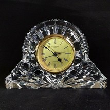1 (One) Waterford Wharton Large Cut Lead Crystal Mantle Clock Gold Face- Signed - $94.99