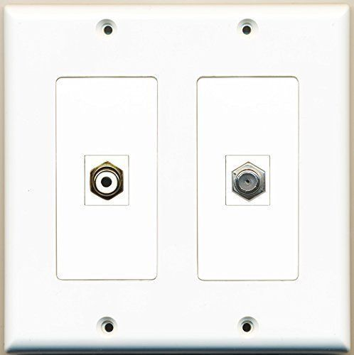 Primary image for RiteAV  1 Port RCA White 1 Port Coax Cable TV- F-Type - Dual Gang Wall Plate