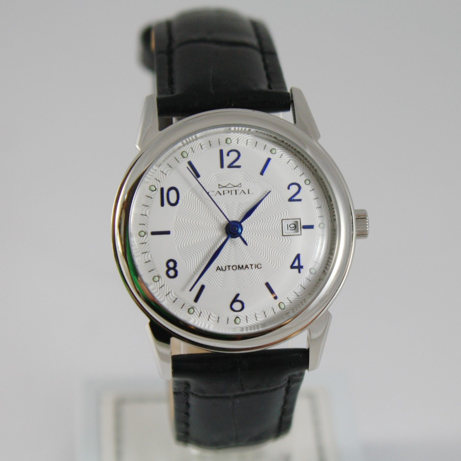 CAPITAL WATCH AUTOMATIC MOVEMENT 32 MM CASE WITH DATE, VINTAGE, retrò style