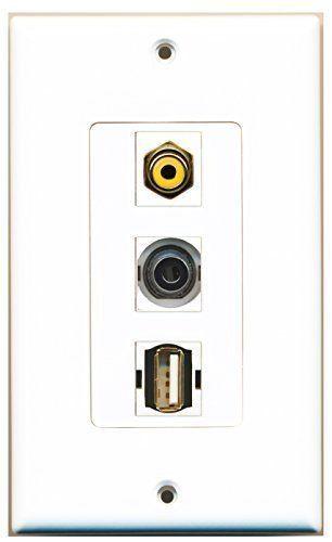 RiteAV  1 Port RCA Yellow - USB A-A - 3.5mm Decorative  Wall Pl...