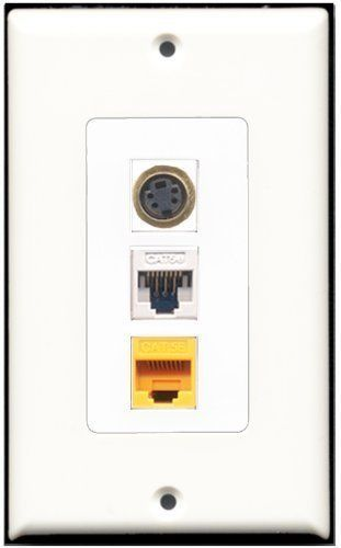 RiteAV  1 Port S-Video 1 Cat5e Ethernet White 1 Cat5e Ethernet Yellow Wall P...