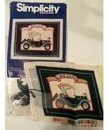BELLE ANTIQUE MODEL T CAR Simplicity Needlepoint LeClair Kit Partially C... - $16.47