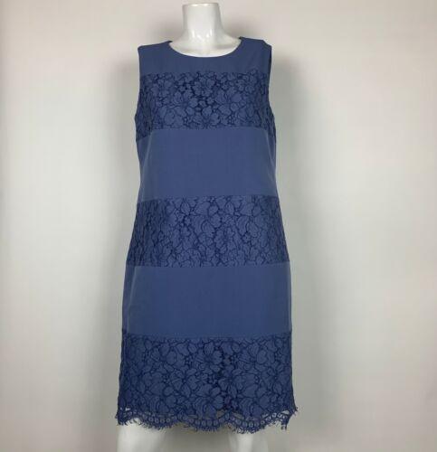Anne Klein Dress Shift Lace Sleeveless Cotton Blue Career Women Sz 10 NEW NWT