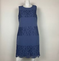 Anne Klein Dress Shift Lace Sleeveless Cotton Blue Career Women Sz 10 NE... - $39.99