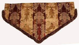 """Croscill Jacquard Shimmery Gold Maroon Scroll Fringed Ascot 40"""" Wide Val... - $32.99"""
