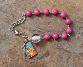 Silver - Immaculate Heart  - 8mm Hot Pink One Decade Catholic Rosary Bra... - $7.99