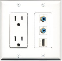 RiteAV  15 Amp Power Outlet 1 Port HDMI 2 Port RCA Blue Decorative  Wall Plate - $28.04