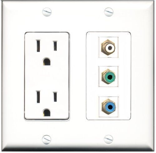 Primary image for RiteAV  15 Amp Power Outlet 1 Port RCA White 1 Port RCA Green 1 Port RCA Blu...