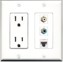 RiteAV  15 Amp Power Outlet 1 Port RCA White 1 Port RCA Blue 1 Port Cat5... - $28.04