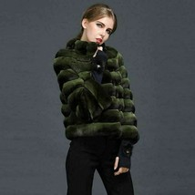 Dark Green Chinchilla Fur Jacket  Stand Up Collar European Premium Fur M... - $3,861.00