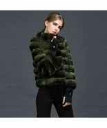 Dark Green Chinchilla Fur Jacket  Stand Up Collar European Premium Fur Maker - $3,861.00