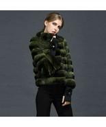 Dark Green Chinchilla Fur Jacket  Stand Up Collar European Premium Fur M... - $3,861.00