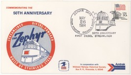 1984 Zephyr Days 50th Anniversary 1st Diesel Streamliner RR Cover! USPS ... - $2.96