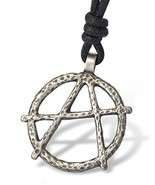 Anarchy Government Protest Silver Pewter Charm Necklace Pendant Jewelry - £7.87 GBP