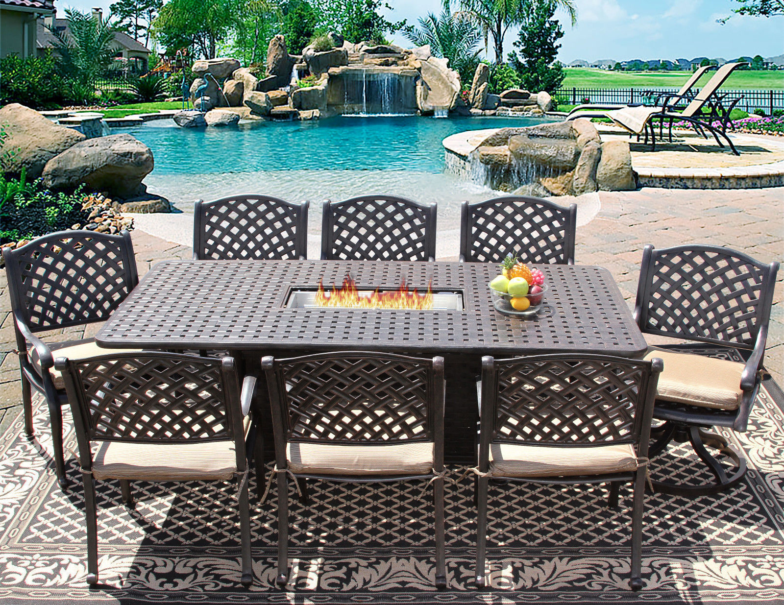 9 pc Patio Outdoor Aluminum Dining Set 8 Person with Rectangle Fire Table