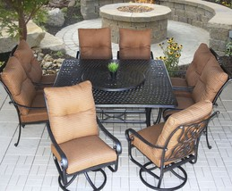 "9 pc Tortuga Patio Dining Set with 64"" Square Table & more Antique Bronz... - $3,168.00"