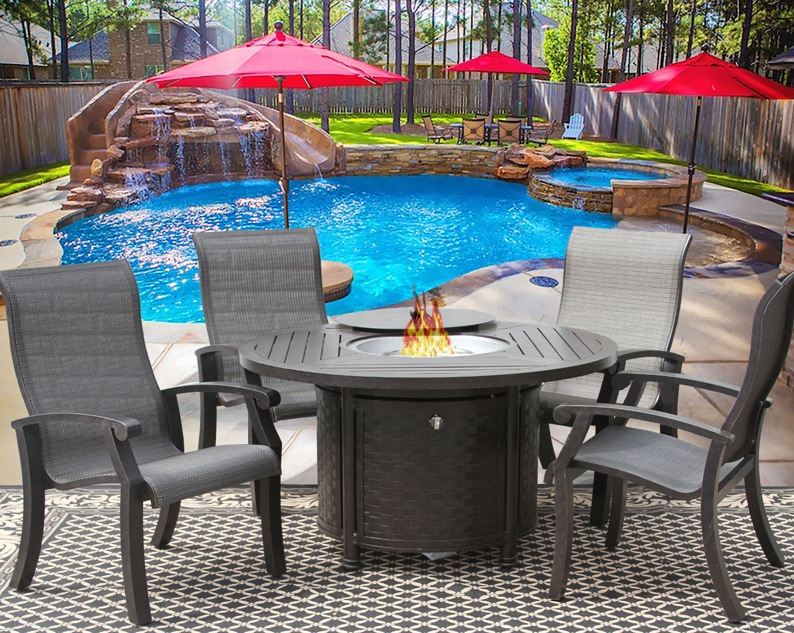 5 Piece FIRE TABLE BARBADOS SLING OUTDOOR PATIO FURNITURE DINING SET FIRE PIT