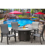 5 Piece FIRE TABLE BARBADOS SLING OUTDOOR PATIO FURNITURE DINING SET FIR... - $2,177.01