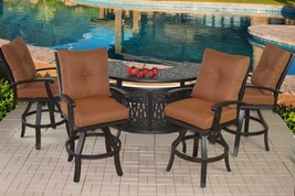 Barbados Outdoor Patio 5pc Aluminum Party Bar Set & Cushions - Antique B... - $2,572.02