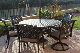 7 Piece Patio Dining Set Patio Outdoor Cast Aluminum Nassau with table -... - $1,964.16