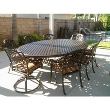"9PC Eli OUTDOOR PATIO DINING SET WITH 70""X 100"" EGG SHAPED TABLE ANTIQUE... - $3,563.01"