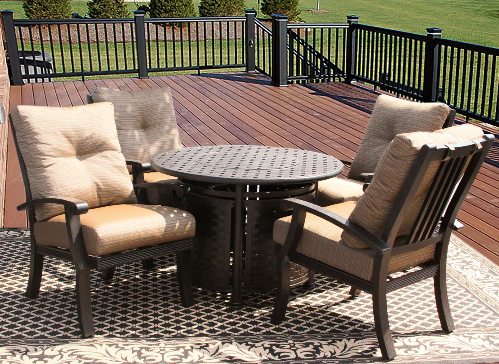 5PC BARBADOS CUSHION OUTDOOR PATIO DINING SET FOR 4 PERSON WITH ROUND FIRE TABLE